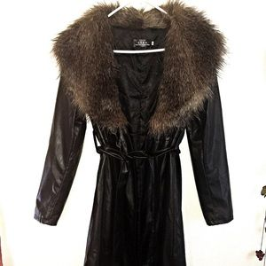Long faux leather coat